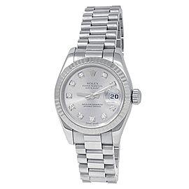 Rolex Datejust 18k White Gold President Auto Diamonds Silver Ladies Watch 179179