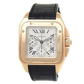 Cartier Santos 100 XL 18k Yellow Gold Leather Auto Silver Men's Watch W20096Y1