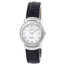 Rolex Cellini 18k White Gold Leather Quartz Mother of Pearl Ladies Watch 6621