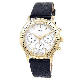 Piaget Chronograph 18k Yellow Gold Leather Auto White Men's Watch 12810 M 501 D