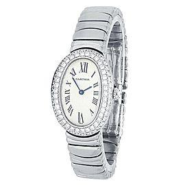 Cartier Baignoire 18k White Gold Diamonds Quartz Silver Ladies Watch 1955