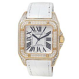 Cartier Santos 100 18k Yellow Gold Auto Diamonds Silver Ladies Watch WM502051
