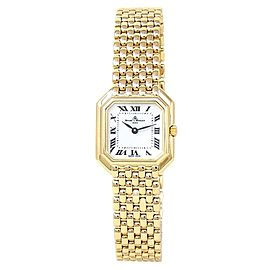 Baume & Mercier Geneve 18k Yellow Gold Quartz White Ladies Watch 18259