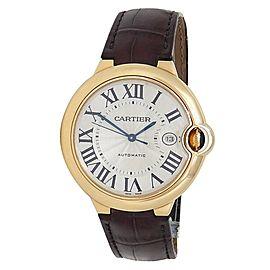 Cartier Ballon Bleu 18k Yellow Gold Leather Automatic Silver Men's Watch 2998