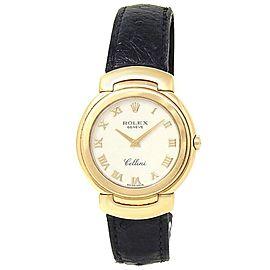Rolex Cellini 18k Yellow Gold Black Leather Quartz White Ladies Watch 6622