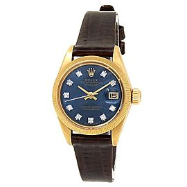Rolex Datejust 18k Yellow Gold Leather Automatic Diamonds Blue Ladies Watch 6927
