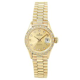 Croton Diamonds 18k Yellow Gold President Automatic Champagne Ladies Watch