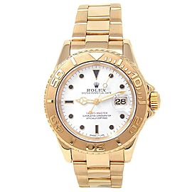 Rolex Yacht-Master 18k Yellow Gold Steel Oyster Auto White Men's Watch 16628
