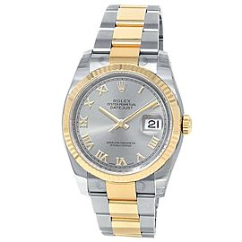 Rolex Datejust 18k Yellow Gold Steel Oyster Automatic Silver Men's Watch 116233