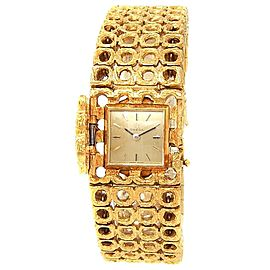 Omega Vintage 18k Yellow Gold Mesh Manual Hidden Champagne Ladies Watch 411506