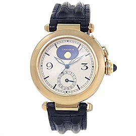 Cartier Pasha 18k Yellow Gold Leather Quartz Ivory Men's Watch 30001