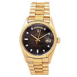 Rolex Day Date 18k Yellow Gold President Auto Diamonds Brown Men's Watch 18078