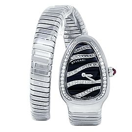 Bvlgari Serpenti Tubogas Stainless Steel Diamonds Black Ladies Watch 102440