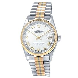 Rolex Datejust 18k White Tridor Gold President Auto White Midsize Watch