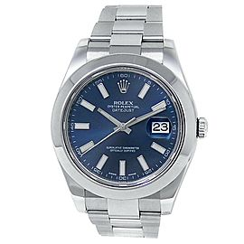 Rolex Datejust II Stainless Steel Oyster Automatic Blue Men's Watch 116300
