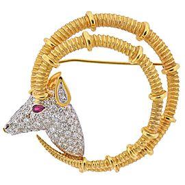 Tiffany & Co. Schlumberger Ruby Diamond Gold Platinum Ibex Brooch Pin