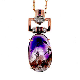 Vintage 14k Rose Gold and 18k Rose Gold Amethyst Quarts, Ruby, and Diamond Art Deco Pendant Necklace