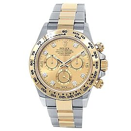 Rolex Daytona 18k Yellow Gold Steel Oyster Diamonds Champagne Men's Watch 116503