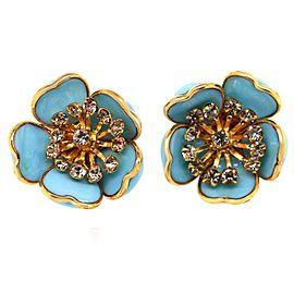 Augustine Paris Blue Enamel Flower Earrings