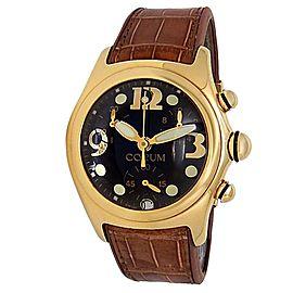 Corum Bubble 18k Yellow Gold Leather Automatic Black Men's Watch 396.150.56