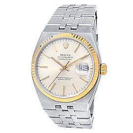 Rolex Datejust Oysterquartz Stainless Steel Gold Quartz Silver Men's Watch 17013