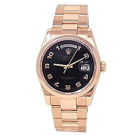 Rolex Day Date 18k Rose Gold Oyster Automatic Black Men's Watch 118205