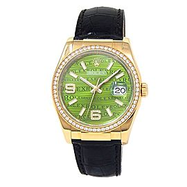 Rolex Datejust 18k Yellow Gold Leather Diamonds Green Men's Watch 116188
