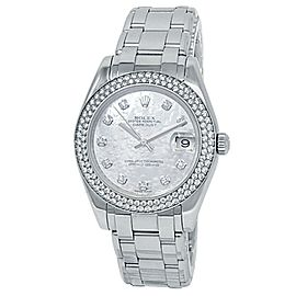 Rolex Datejust 18k White Gold Pearlmaster Diamonds Mother of Pearl Watch 81339