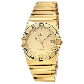 Omega Constellation 18k Yellow Gold Quartz Champagne Ladies Watch