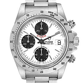 Tudor Prince White Dial Chronograph Steel Mens Watch 79280
