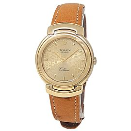Rolex Cellini 18k Yellow Gold Brown Leather Quartz Champagne Ladies Watch 6622