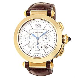 Cartier Pasha 18k Yellow Gold Brown Leather Auto Silver Men's Watch