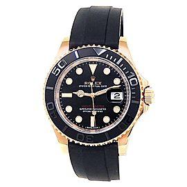 Rolex Yacht-Master 18k Everose Gold Rubber Automatic Black Men's Watch