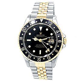 Rolex GMT-Master II 18k Yellow Gold Steel Jubilee Auto Black Men's Watch 16713