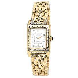 Jaeger-LeCoultre Reverso 18k Yellow Gold Diamonds Silver Ladies Watch 267.1.08