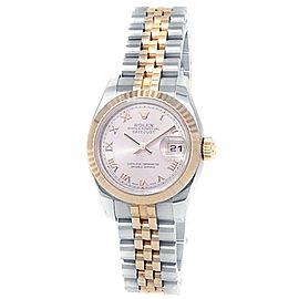 Rolex Datejust 18k Rose Gold Stainless Steel Jubilee Pink Ladies Watch 179171