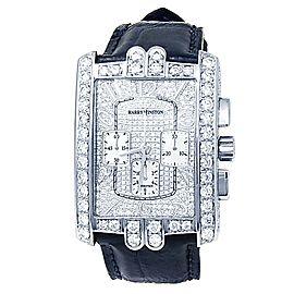 Harry Winston Avenue C 18k White Gold Leather Auto Diamonds Men's Watch 330/MCA