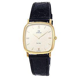 Omega De Ville 18k Yellow Gold Black Leather Manual Beige Ladies Watch 73026300