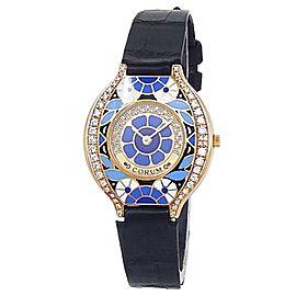 Corum Vintage 18k Yellow Gold Leather Quartz Diamond Blue Enamel Watch 24.115.65