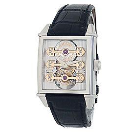 Girard Perregaux Vintage 1945 18k White Gold Silver Tourbillon Men's Watch 9989