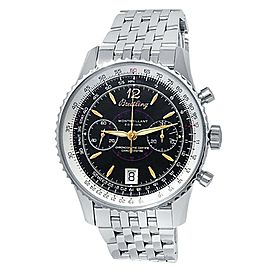 Breitling Montbrillant Stainless Steel Auto Chronograph Black Men's Watch A48330