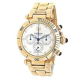 Cartier Pasha Chronograph 18k Yellow Gold Automatic Silver Men's Watch W30140D1