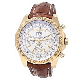 Breitling Bentley Motors 6.75 18k Yellow Gold Leather Auto Silver Watch K44362