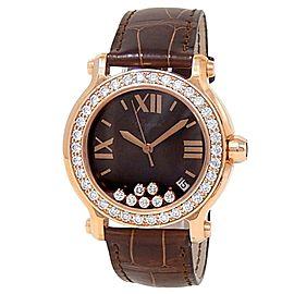 Chopard Happy Sport Round 18k Rose Gold Quartz Brown Ladies Watch 277473-5008