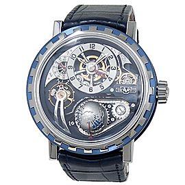 DeWitt Academia Hour Planet Titanium Leather Manual Blue Men's Watch AC.GMT.004