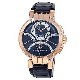 Harry Winston Premier Excenter Retrograde 18k Rose Gold Blue Watch 200-MCRA39R