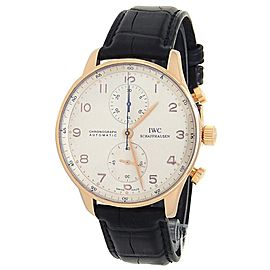 IWC Portuguese 18k Rose Gold Black Leather Automatic Silver Men's Watch IW371480