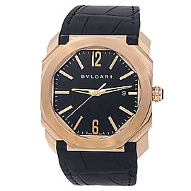 Bvlgari Octo Solotempo 18k Rose Gold Black Leather Auto Black Men's Watch 101963
