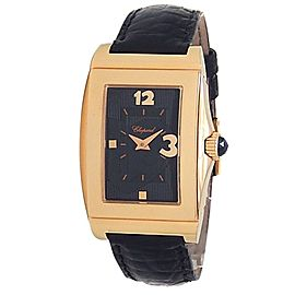 Chopard Happy Heart 18k Rose Gold Black Leather Quartz Black Ladies Watch 127461