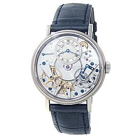 Breguet Tradition 18k White Gold Leather Auto Silver Men's Watch